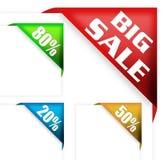Großes Verkaufszeichen und Rabattfarbband Stockfotografie