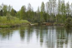 Großes Wasser im Vorfrühling Stockbild