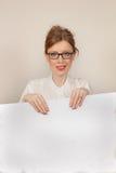 Großes weißes Brett des Mädchens Stockbild