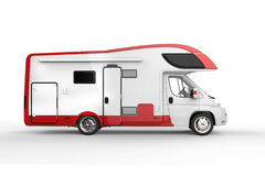 Großes weißes und rotes Camperfahrzeug lizenzfreie abbildung