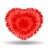 Großes weiches rotes Herz lokalisiert auf weißem Hintergrund Stockbild