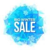 Großes Winterschlussverkaufzeichen auf blauem Eis und Schneeflocken Lizenzfreie Stockfotos