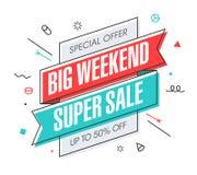 Großes Wochenenden-Superverkaufsfahne Stockfoto