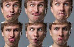 Großkopfkerl macht verrückte Gesichtsgefühle Lizenzfreies Stockfoto