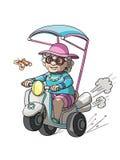 Großmutter, die ihr Fahrrad reitet lizenzfreie abbildung