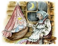Großmutter, die zum Schlafenkel schaukelt Stockbilder