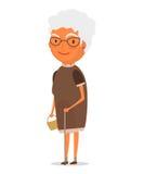 Großmutter im braunen Kleid stock abbildung