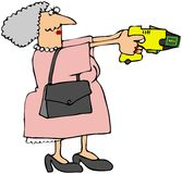 Großmutter mit einer Betäubung-Gewehr Stockbilder