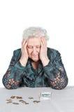 Großmutter mit russischem Geld. Lizenzfreie Stockfotos