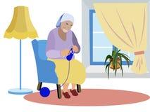 Großmutter sitzt nahe dem Fenster und strickt Kleidung Erwartung von Enkelkindern, Einsamkeit In der unbedeutenden Art karikatur vektor abbildung