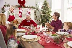 Großmutter, welche die Türkei an der Familien-Weihnachtsmahlzeit herausbringt Lizenzfreie Stockbilder
