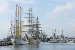 Großsegler festgemacht im Hafen von Klaipeda Lizenzfreie Stockfotografie
