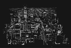 Großstadt beleuchtet handgefertigte Illustrations-Vektor-Grafik Stockfotografie