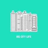 Großstadtleben mit Entwurfswolkenkratzern lizenzfreie abbildung