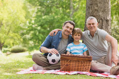 Großväterlicher Vater und Sohn mit Picknickkorb am Park lizenzfreie stockfotografie