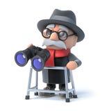 Großvater 3d mit gehendem Rahmen schaut durch Ferngläser Stockfoto