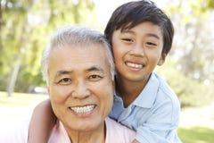 Großvater mit Enkel im Park Stockfotos