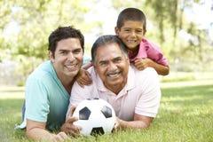 Großvater mit Sohn und Enkel im Park Lizenzfreie Stockfotografie