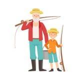 Großvater-und Enkel-gehende Fischerei, Teil des Großvater-Enkelkindes Zeit-zusammen eingestellte Illustrationen verabschiedend Stockfotos