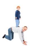Großvaterrückseite des Jungen stehende Reit Lizenzfreies Stockbild