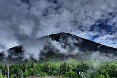 Großaufnahme vom Fujisan herein mit grünem Wald und bewölktem Himmel, Japan lizenzfreie stockfotografie