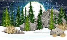 Großer Mond mit Kratern im nächtlichen Himmel Gezierter Wald, Steine und Berge lizenzfreie abbildung