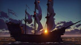 Großes mittelalterliches Schiff auf dem Meer auf einem Sonnenaufgang Das alte mittelalterliche Schiff segelt würdevoll in die hoh stock abbildung
