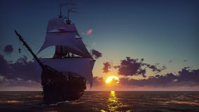 Großes mittelalterliches Schiff auf dem Meer auf einem Sonnenuntergang Das alte mittelalterliche Schiff segelt würdevoll in die h vektor abbildung