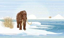Großes wolliges Mammut auf der Bank von einem einfrierenden Fluss Vorgeschichtstiere Eine Wildente auf einem Eis durch das offene stock abbildung
