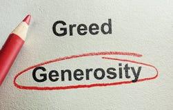 Großzügigkeit und Habsucht stockfoto