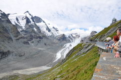 Großglockner. Grossglockner is the highest mountain in Austria. It has almost 3 800 meters, and the road goes up to 2 500 meters. The mountain brings you right Royalty Free Stock Photo