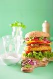 Grão-de-bico do vegetariano e hamburguer do sweetcorn com a cebola do jalapeno da pimenta Fotos de Stock