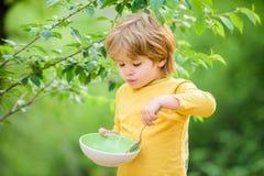 Gro?en Appetit haben Organische Nahrung Gesundes Nahrungkonzept Nahrungsgewohnheiten Kindergriffl?ffel Kleines Kind genie?en lizenzfreies stockfoto
