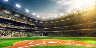 Großartige Arena des professionellen Baseballs im Sonnenlicht Stockbild