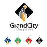 Großartige Stadt Logo Template Design Vector Lizenzfreies Stockfoto