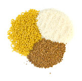 Groats de trigo mourisco e arroz, massa Fotografia de Stock