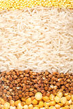 Groats: pease, buckwheat, rice and millet Royalty Free Stock Photos