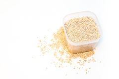 Groats on white background. Buckwheat is sprinkled / premium buckwheat groats on white background Stock Images