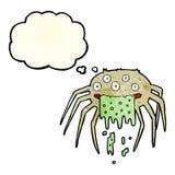 grobe Halloween-Spinne der Karikatur mit Gedankenblase Stockbild