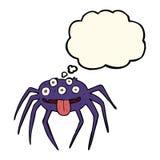 grobe Halloween-Spinne der Karikatur mit Gedankenblase Lizenzfreie Stockfotografie