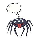 grobe Halloween-Spinne der Karikatur mit Gedankenblase Lizenzfreie Stockfotos