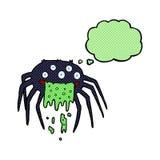 grobe Halloween-Spinne der Karikatur mit Gedankenblase Stockfotografie