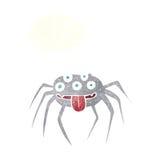 grobe Halloween-Spinne der Karikatur mit Gedankenblase Lizenzfreies Stockbild