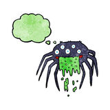 grobe Halloween-Spinne der Karikatur mit Gedankenblase Stockfoto