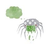 grobe Halloween-Spinne der Karikatur mit Gedankenblase Stockfotos