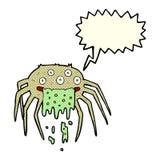 grobe Halloween-Spinne der Karikatur mit Spracheblase Lizenzfreies Stockfoto