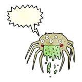 grobe Halloween-Spinne der Karikatur mit Spracheblase Stockfoto