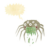 grobe Halloween-Spinne der Karikatur mit Spracheblase Stockbild