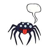 grobe Halloween-Spinne der Karikatur mit Spracheblase Stockfotografie