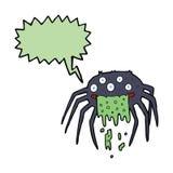 grobe Halloween-Spinne der Karikatur mit Spracheblase Stockbilder